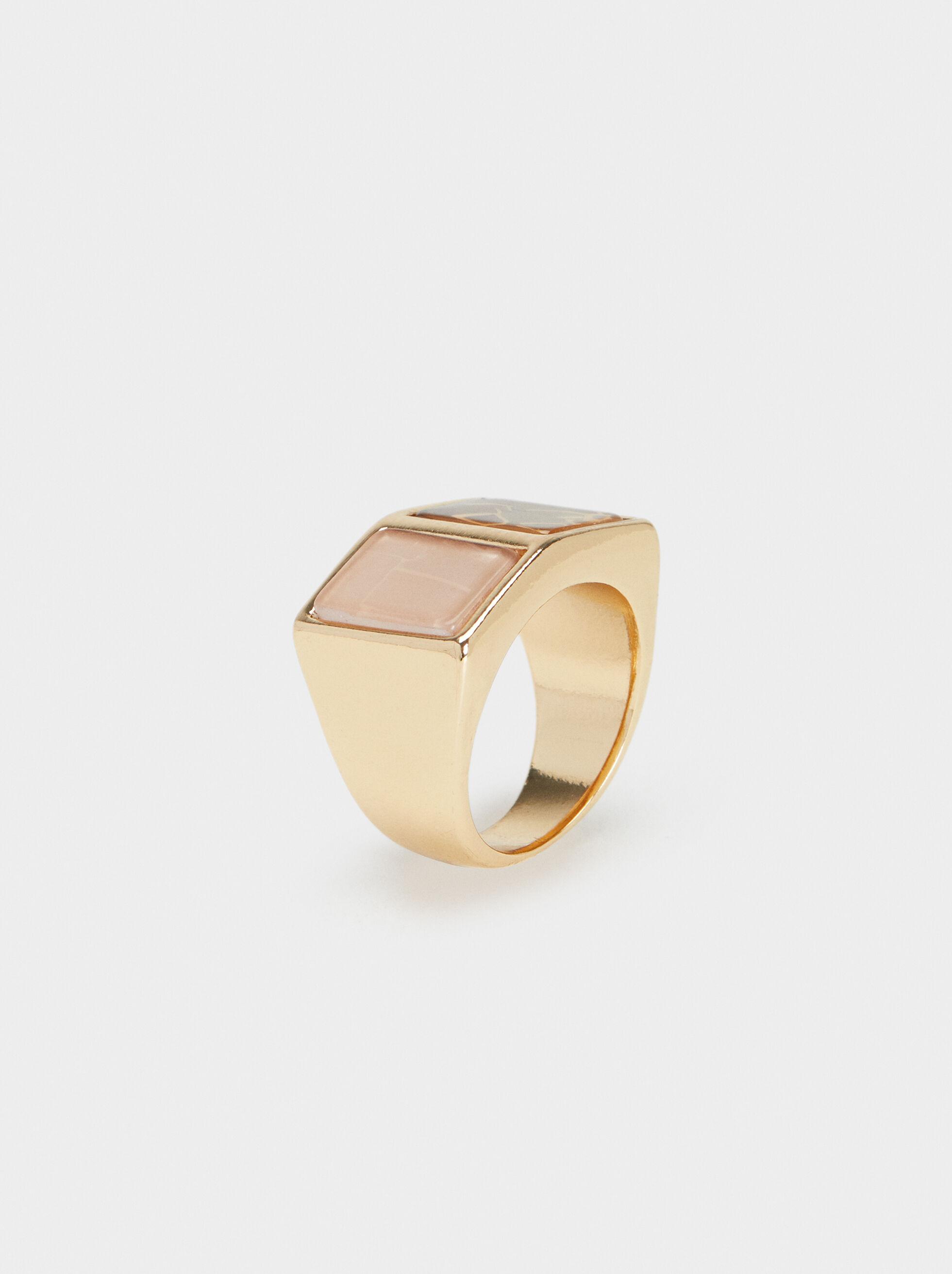 Gold Geometric Ring, , hi-res