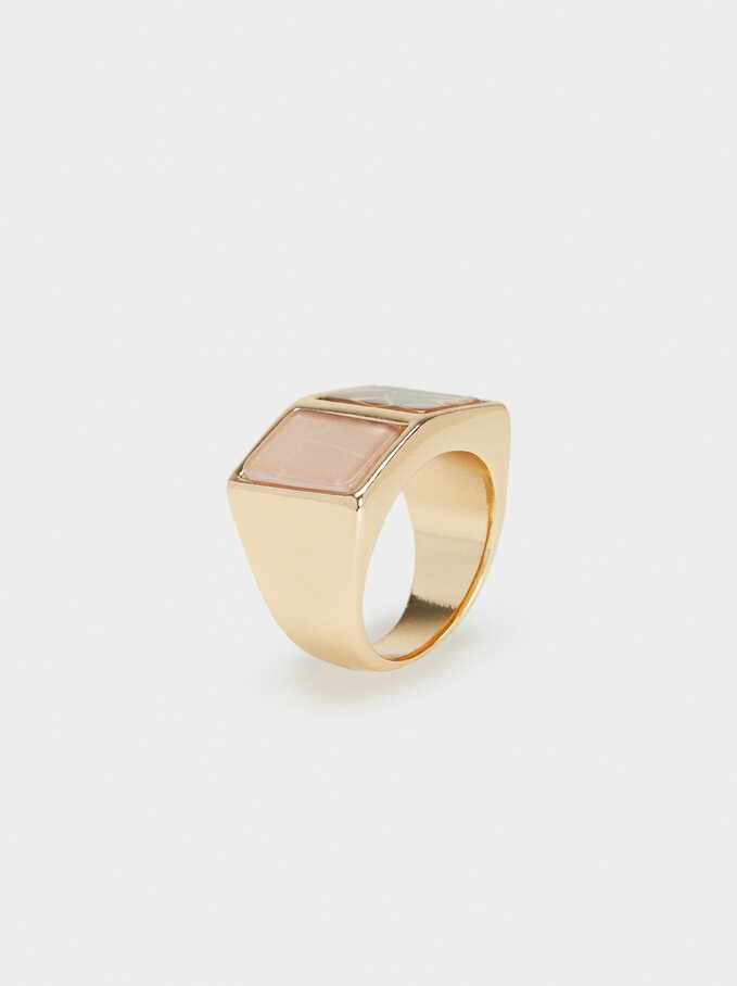 Gold Geometric Ring, Multicolor, hi-res