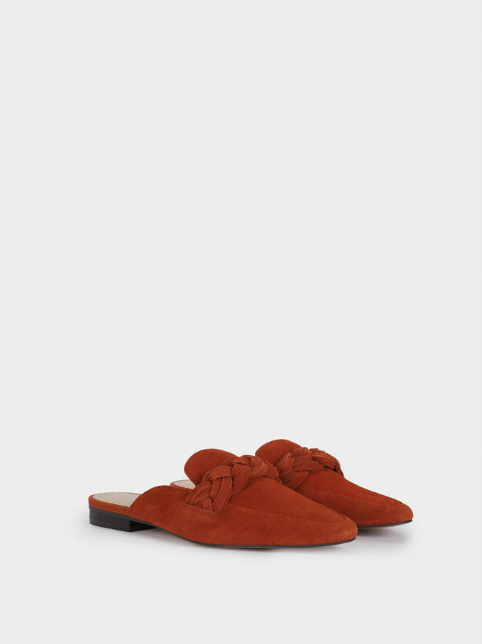 Suede Babouches With Plaited Detail, Orange, hi-res