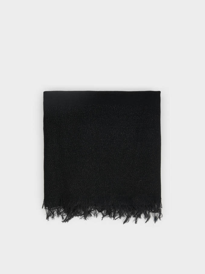 Metallic Wedding Scarf, Black, hi-res