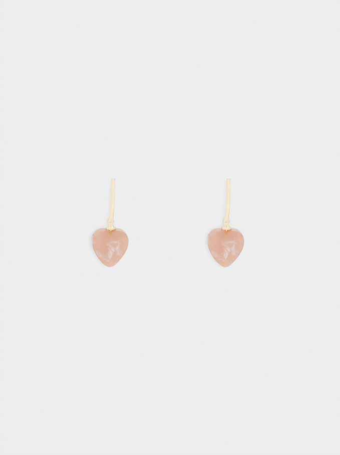 Small Hoop Earrings With Multicoloured Heart, Pink, hi-res
