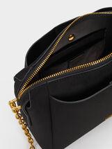 Suede Texture Shoulder Bag, Black, hi-res