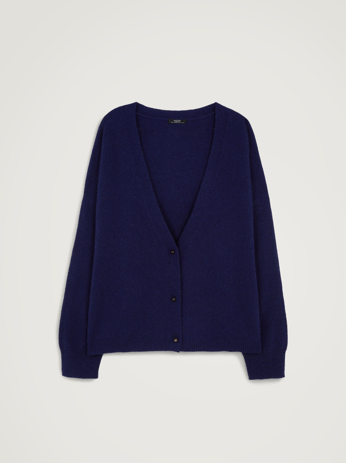 Knitted Cardigan With With Pearl Buttons, Blue, hi-res