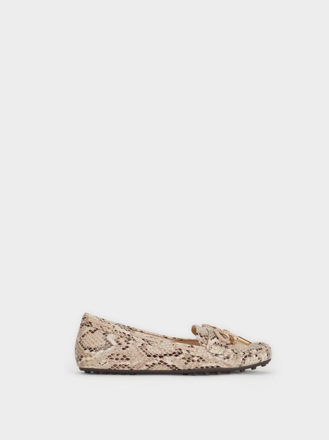 Faux Snakeskin Loafers, Beige, hi-res
