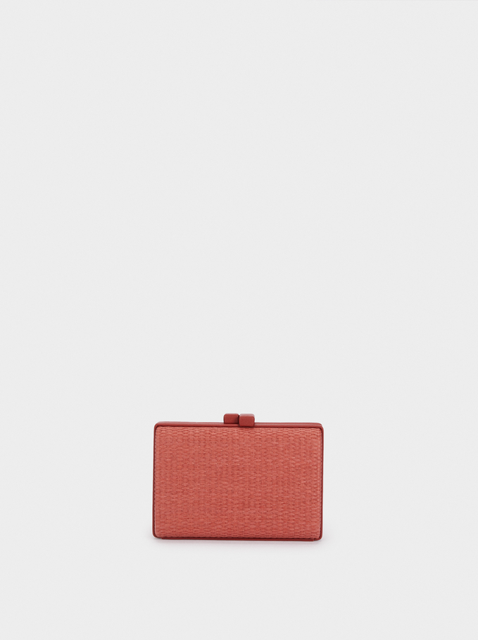 Peacock Party Clutch, Brick Red, hi-res