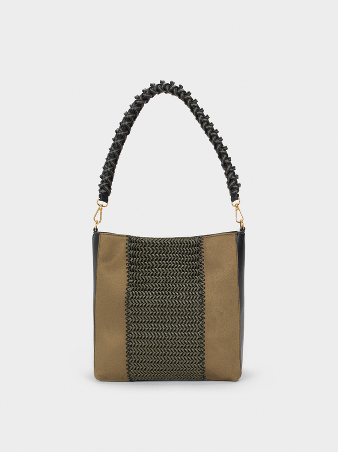 Handbag With Braided Strap, Khaki, hi-res