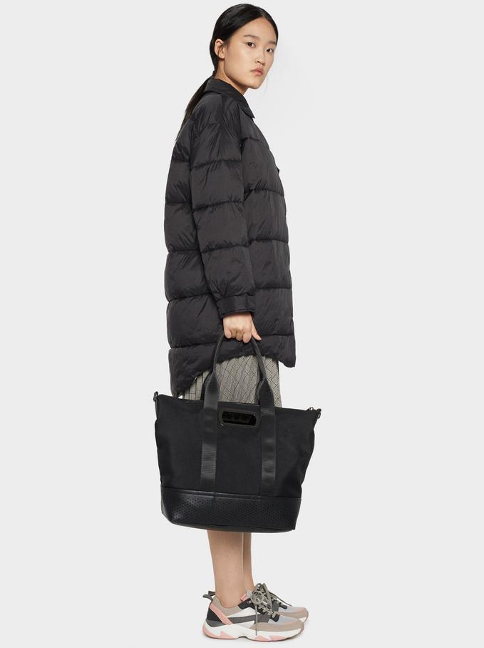 Nylon Tote Bag With Handle, Black, hi-res