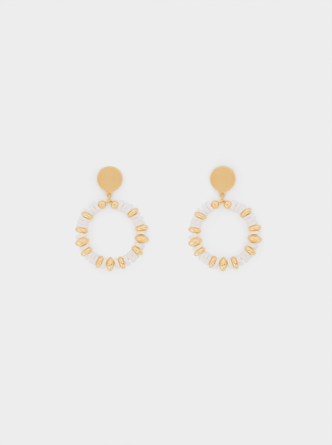 Earrings With Beads, Golden, hi-res