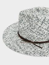 Mottled Raffia Hat, White, hi-res