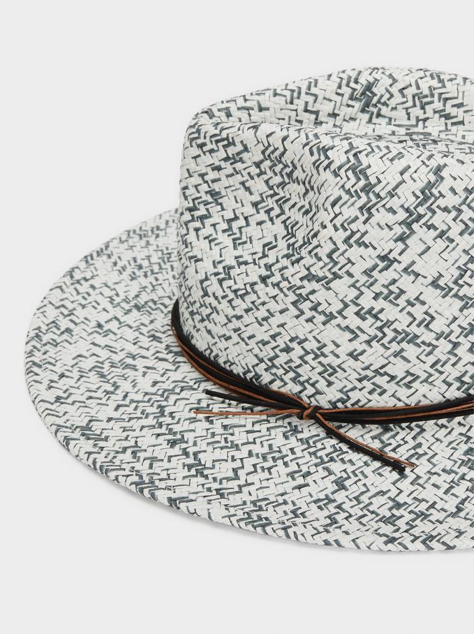 Sombrero Textura Rafia Jaspeado, Blanco, hi-res