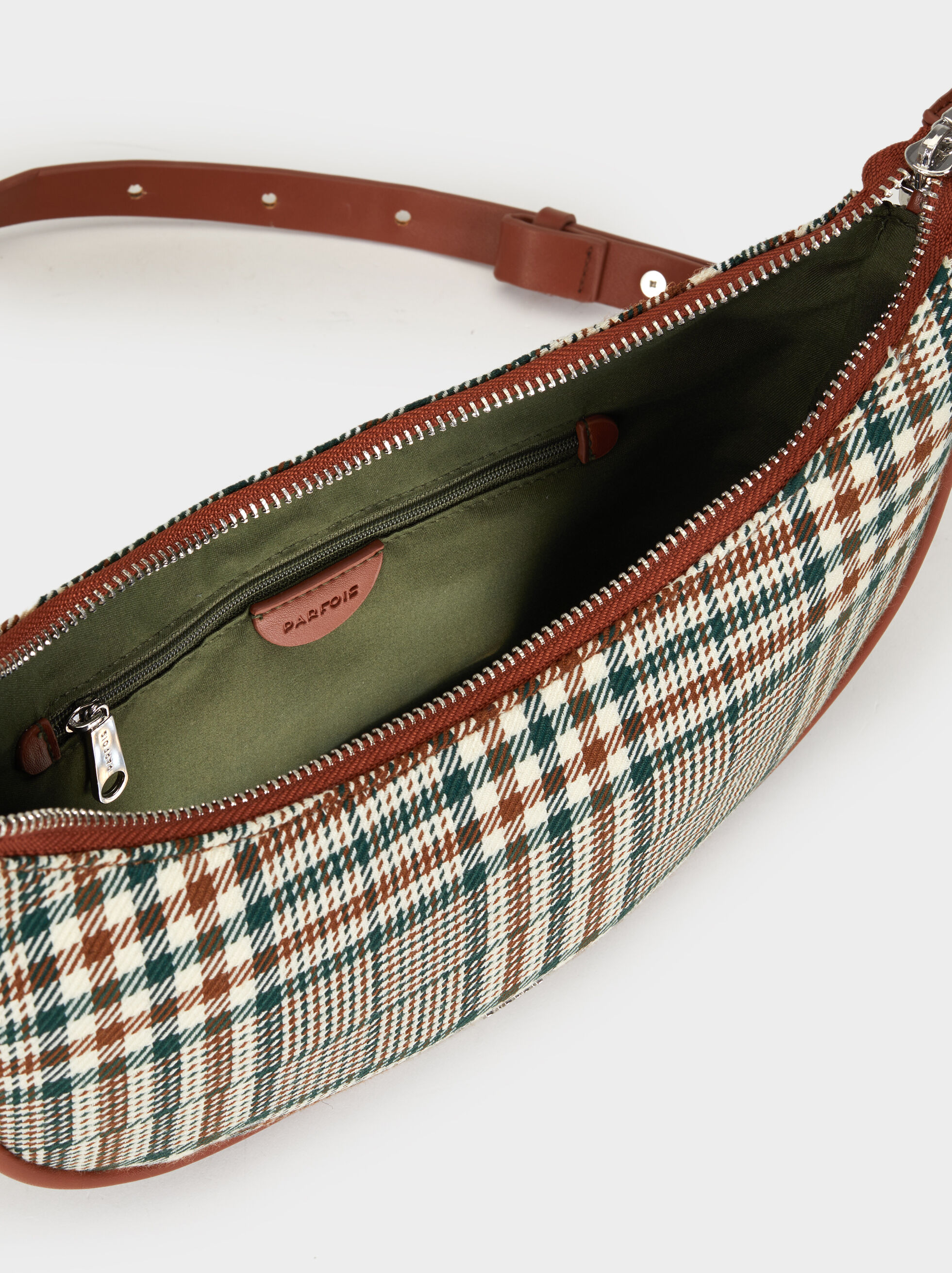 Chequerboard Baguette Bag, Green, hi-res