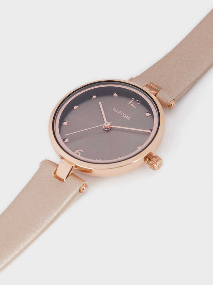 Rose Gold Metallic Watch, Pink, hi-res