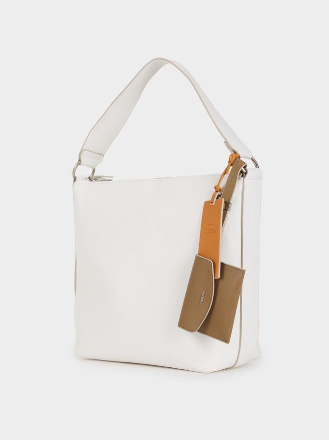 Plain Shoulder Bag, White, hi-res