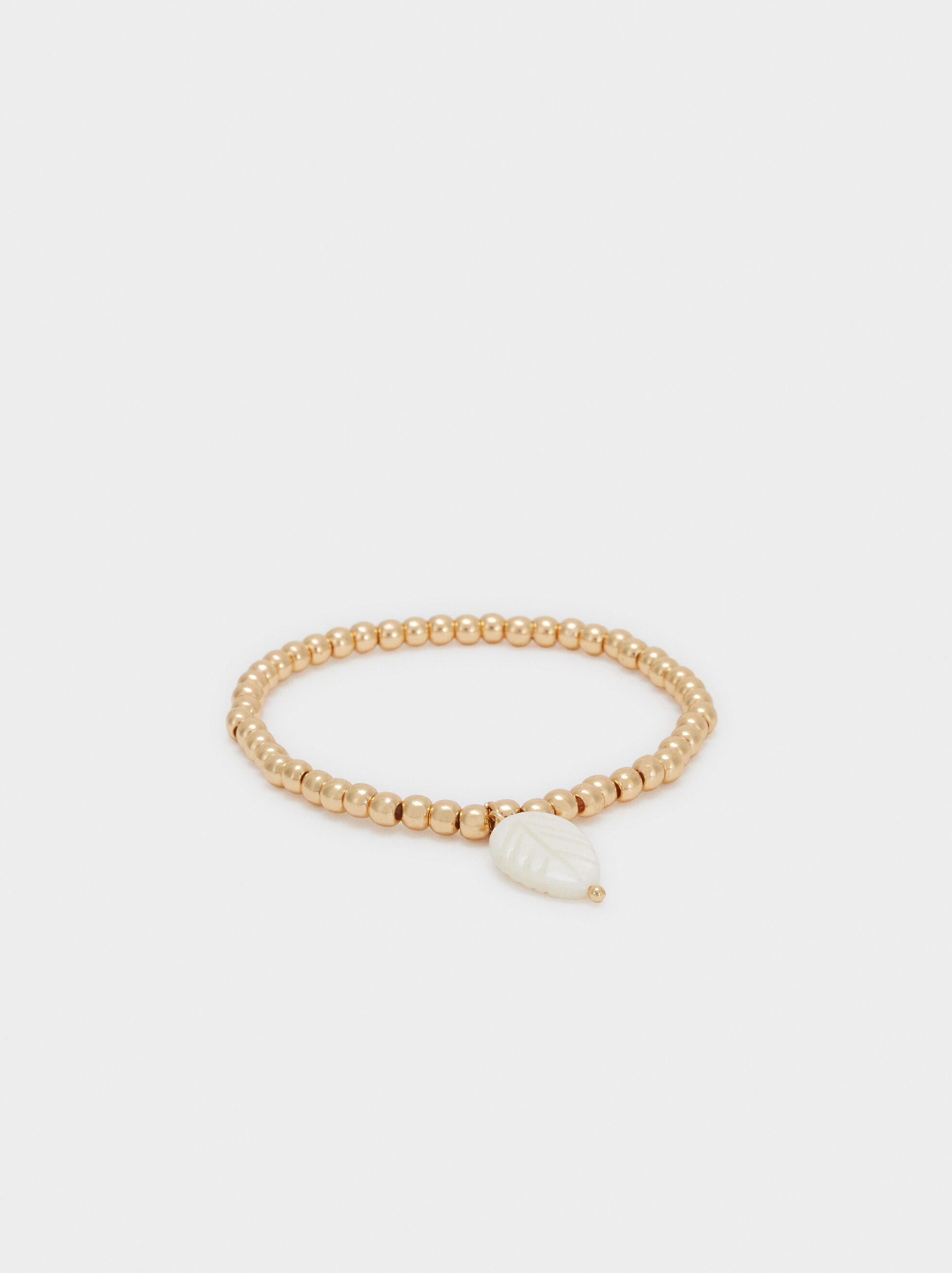Gold Elastic Bracelet With Leaf, , hi-res