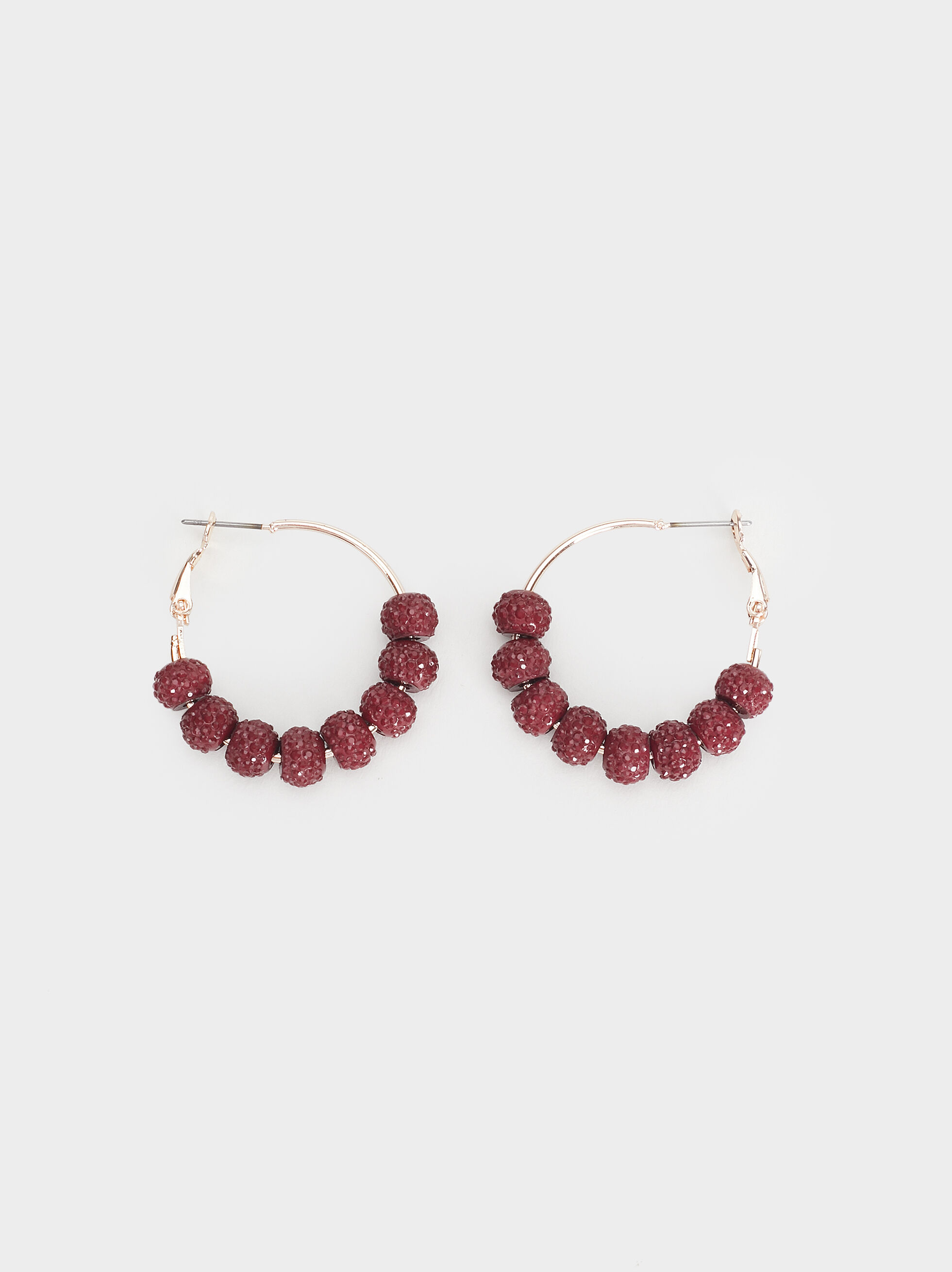 Rose Berry Medium Hoop Earrings, Bordeaux, hi-res