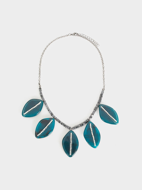 Botanic Party Short Necklace With Leaves, Grey, hi-res