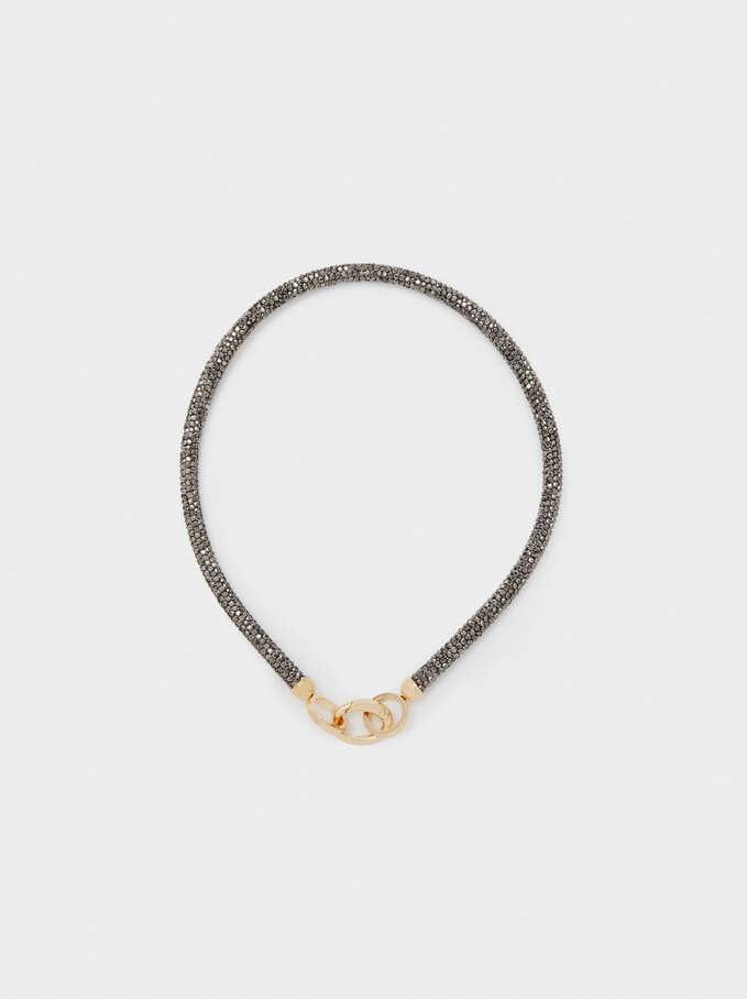 Short Necklace With Crystals, Multicolor, hi-res