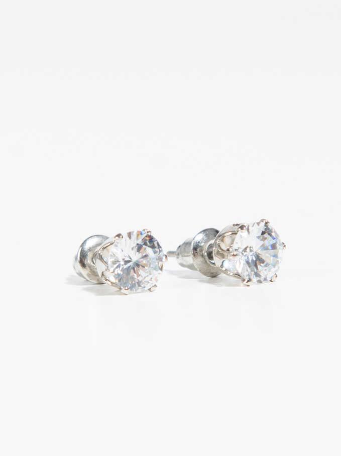 Basic Earrings , Silver, hi-res
