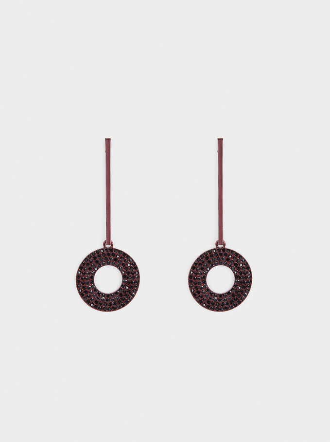 Earrings With Circles And Multicoloured Crystals, Bordeaux, hi-res