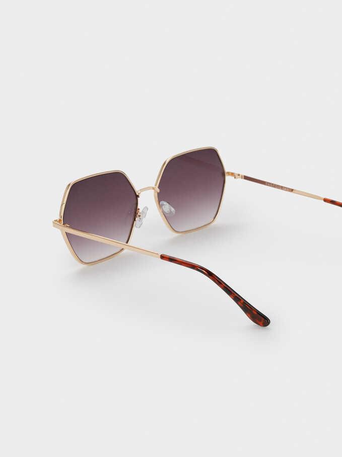 Gafas De Sol Metálicas Hexagonales, Dorado, hi-res