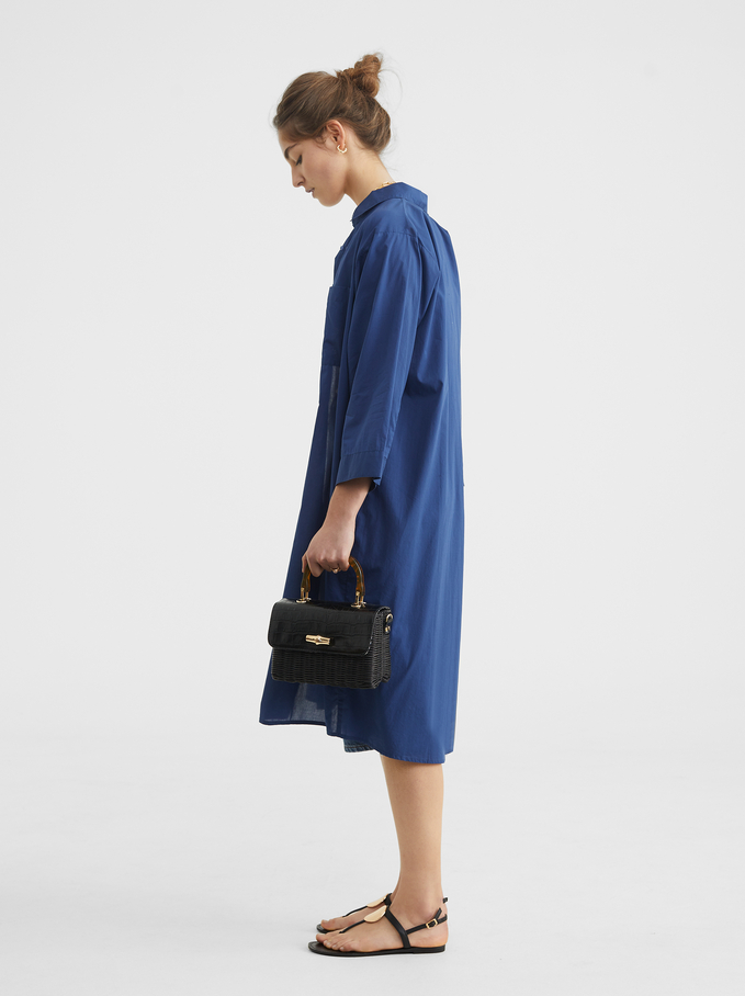 Shirt Dress With Pocket, Blue, hi-res