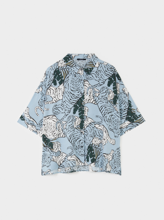 Camicia Morbida Stampa Animalier, Blu, hi-res