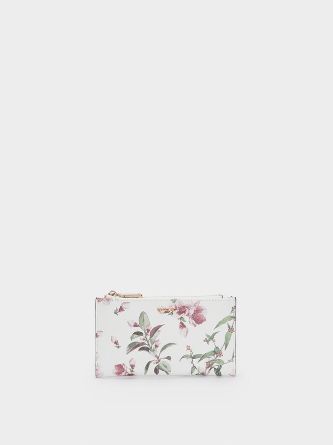 Portefeuille Imprimé Floral, Écru, hi-res