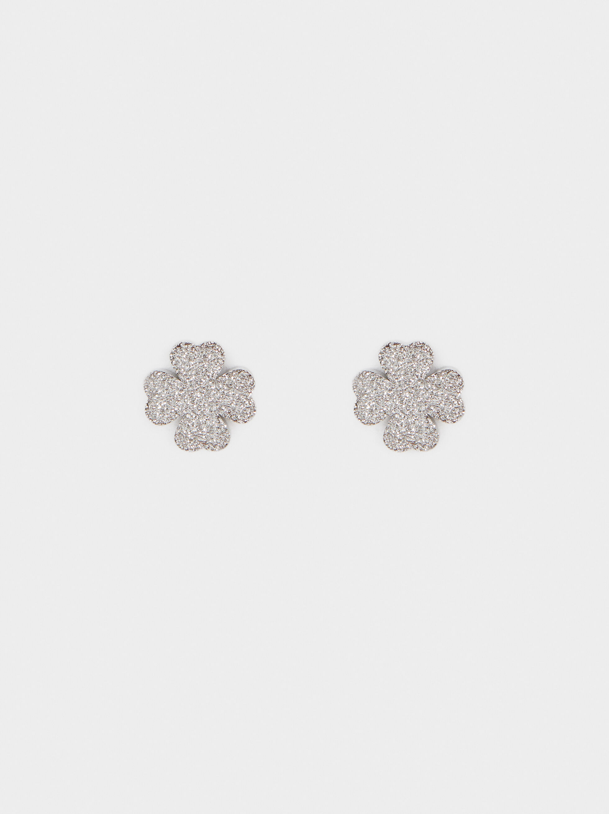 Short Silver Stainless Steel Earrings With Shamrock Detail, Silver, hi-res