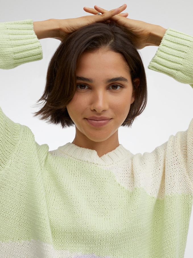 100% Cotton Knit Sweater, Ecru, hi-res