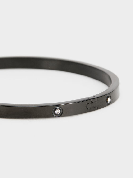 Steel Diamanté Bracelet, Black, hi-res