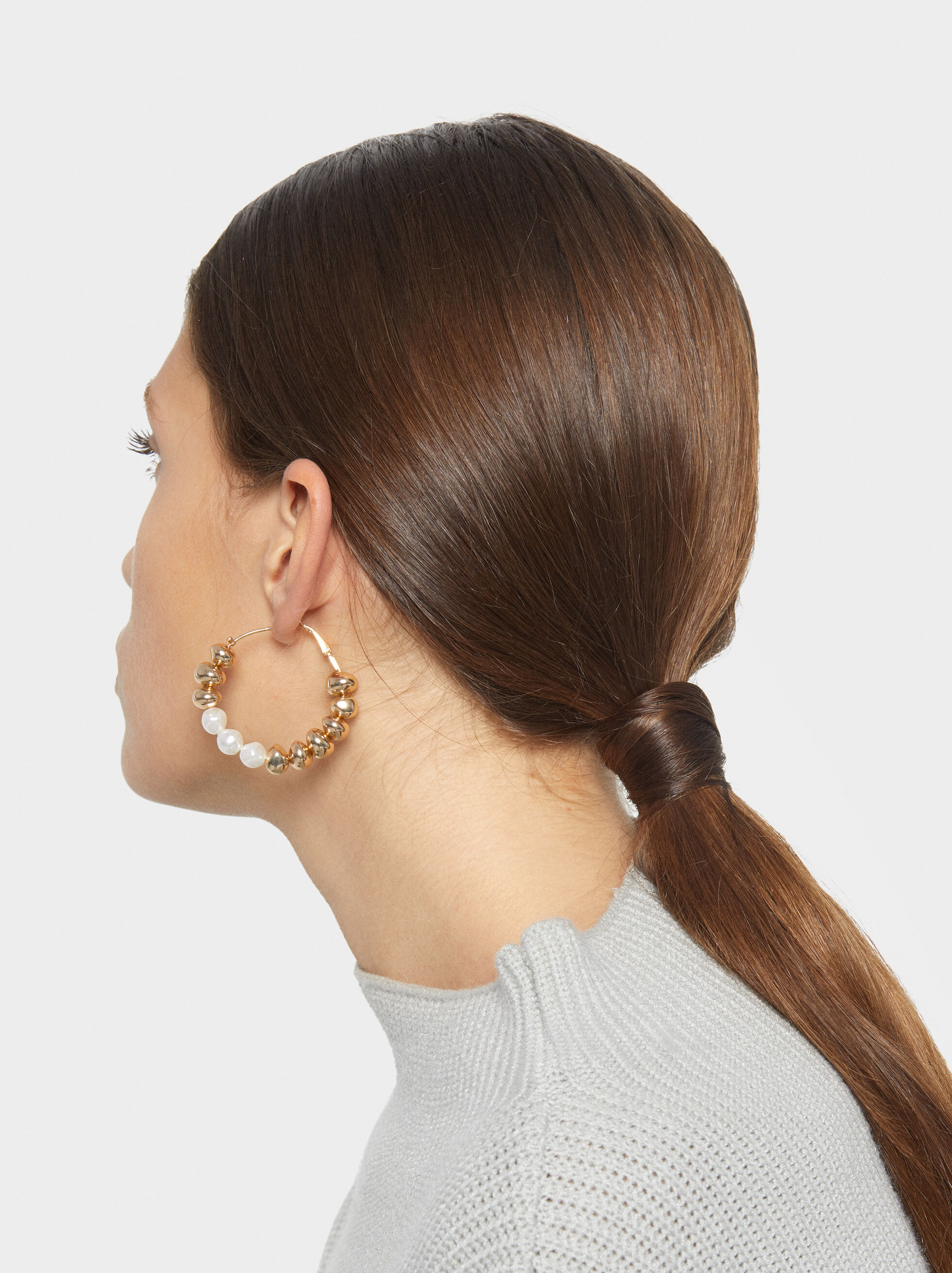 Fancy Pearls Large Hoop Earrings, , hi-res