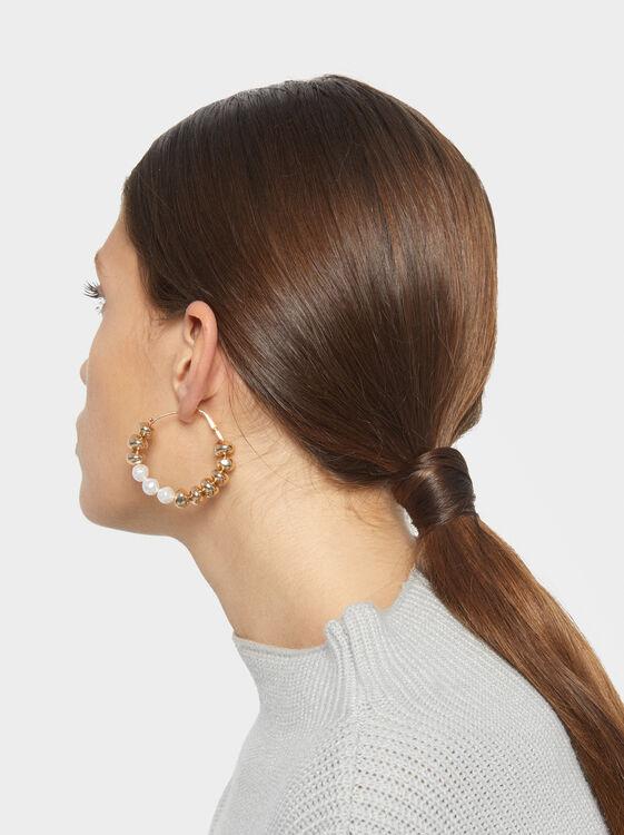 Fancy Pearls Large Hoop Earrings, , hi-res