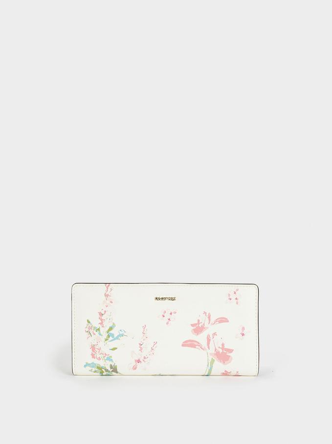 Long Floral Print Purse, Ecru, hi-res