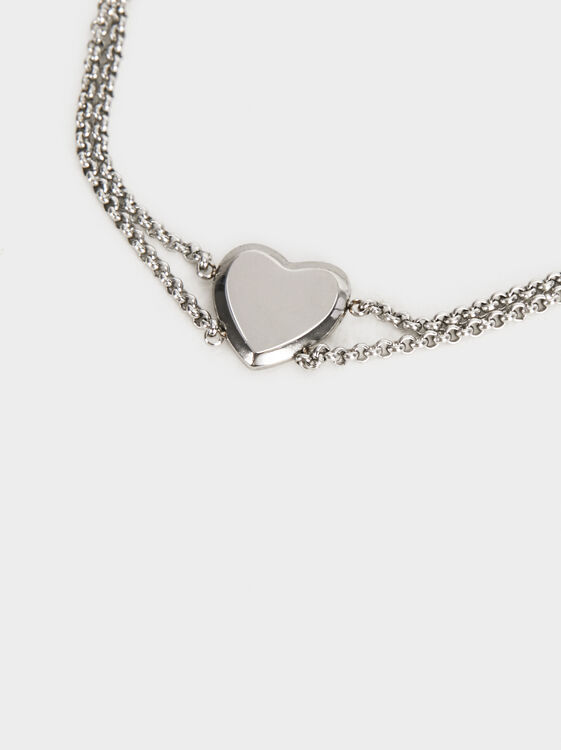 Steel Heart Bracelet, Silver, hi-res