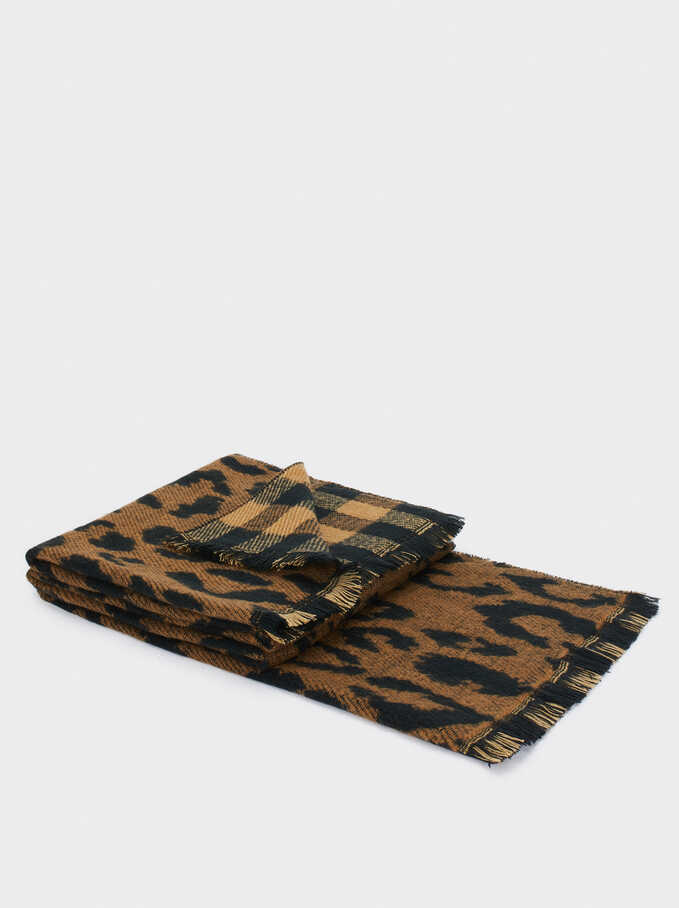 Reversible Printed Maxi Scarf, Brown, hi-res