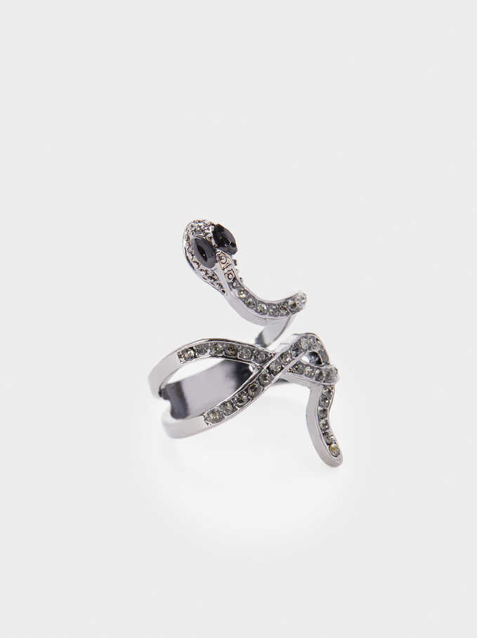 Snake Ring With Crystals, Black, hi-res