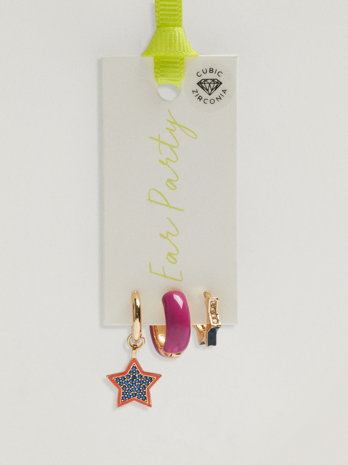 Set Of Hoop Earrings With Star And Zirconia, Multicolor, hi-res