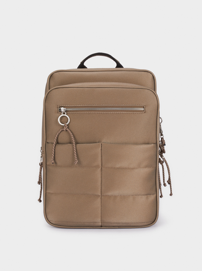 Quilted Backpack With Exterior Pocket, Khaki, hi-res