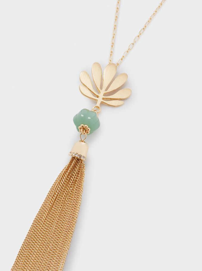 Long Pendant Necklace, Golden, hi-res
