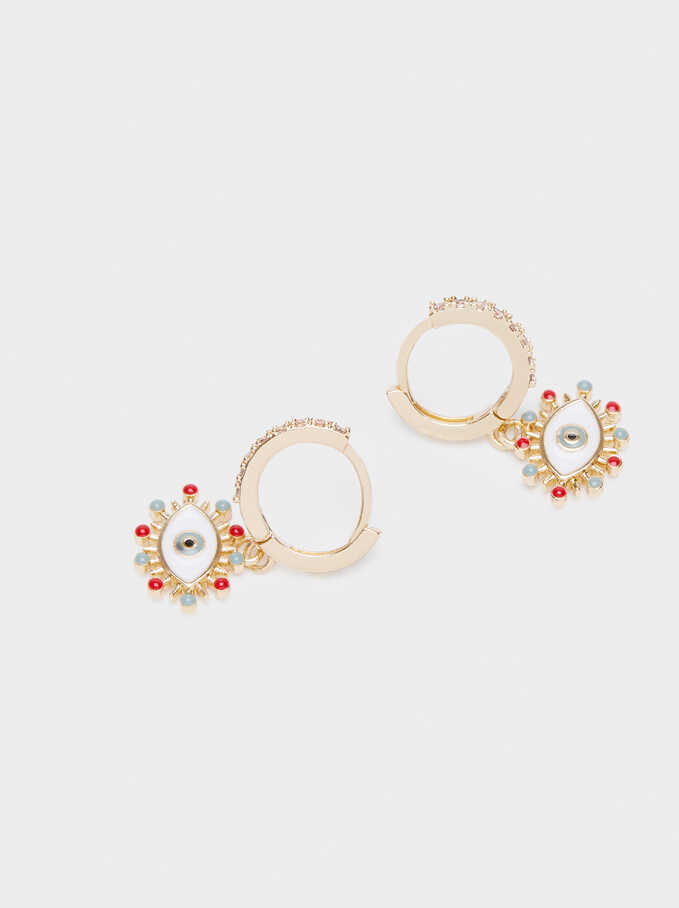 Small Gold Hoop Earrings, Multicolor, hi-res