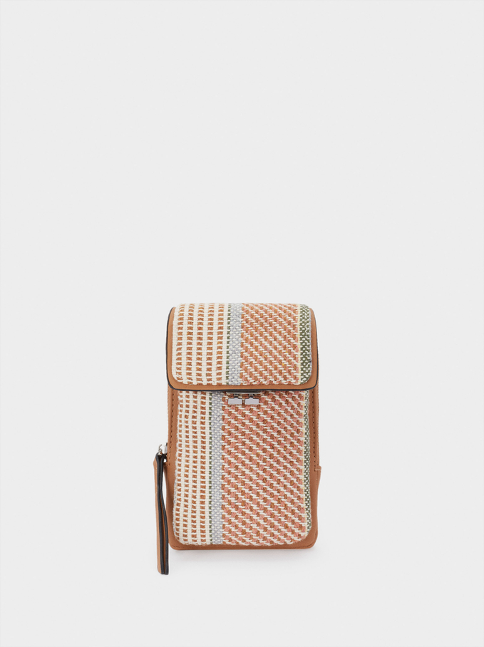 Printed Fabric Mobile Phone Case, Pink, hi-res