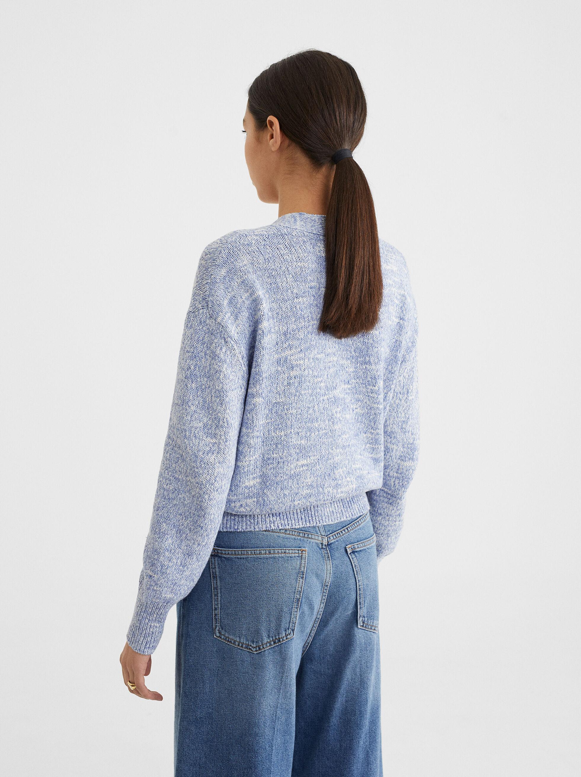 Mottled Knit Cardigan, Blue, hi-res