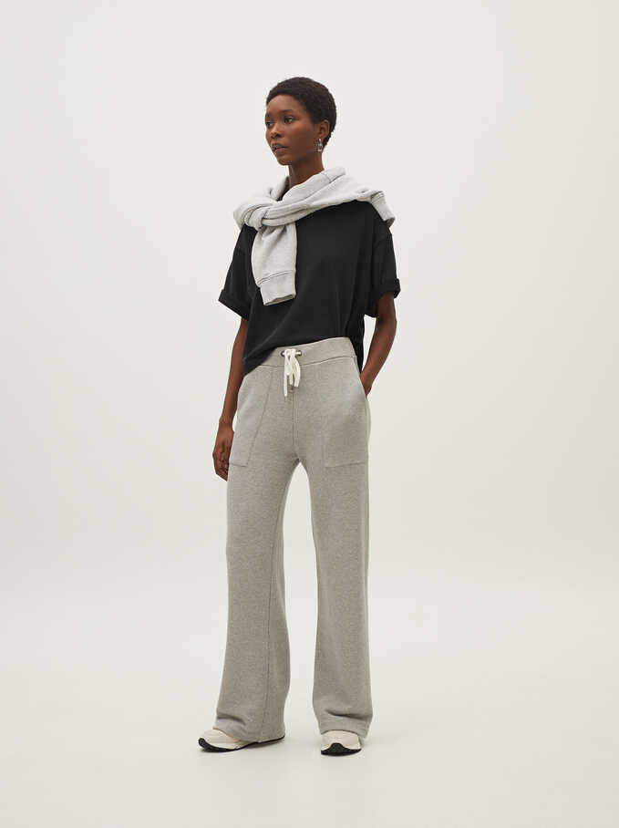 Wide-Leg Cotton Trousers, Grey, hi-res