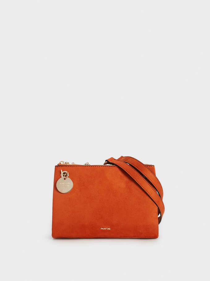 Faux Suede Crossbody Bag, Orange, hi-res