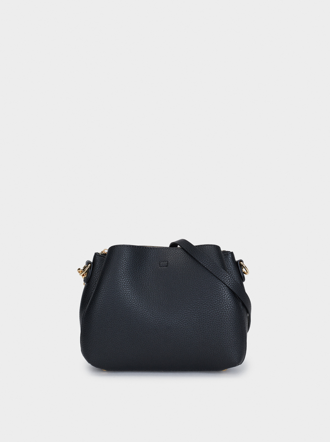 Embossed Shoulder Bag, Black, hi-res