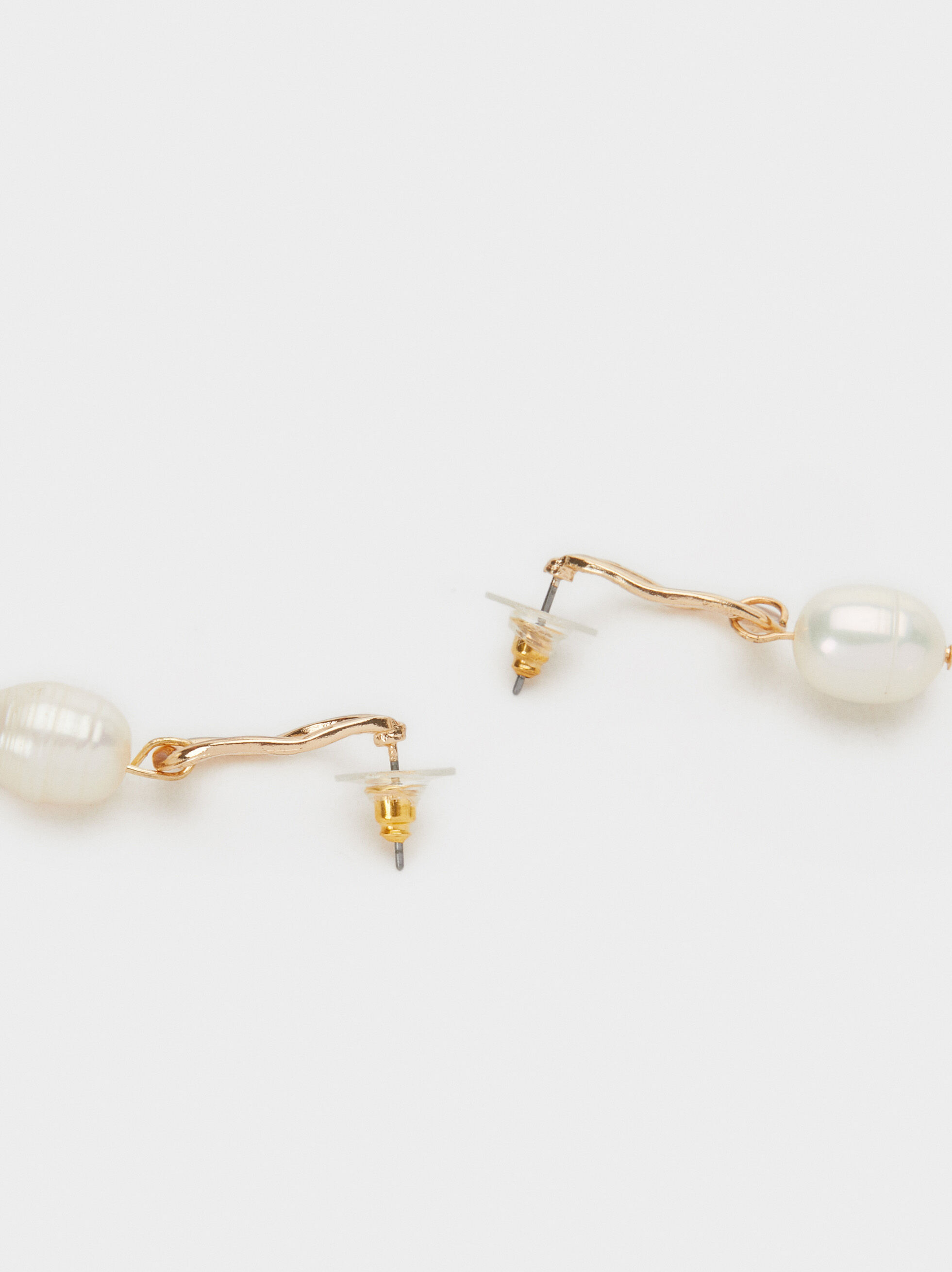 Fancy Pearls Earrings, White, hi-res