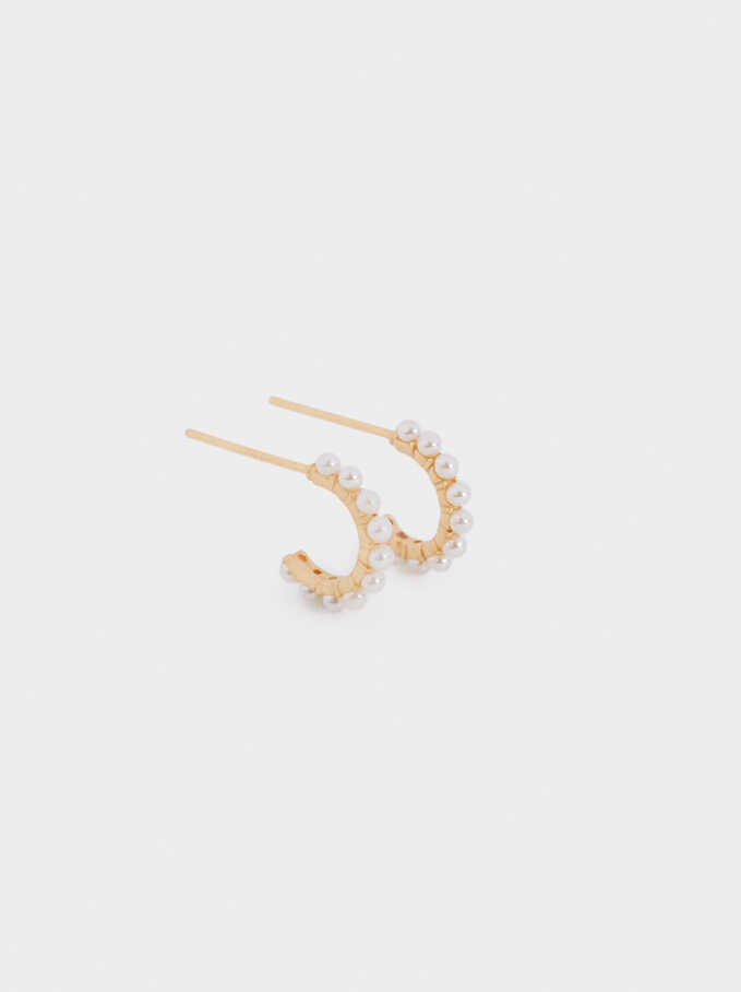 Short 925 Silver Hoops With Faux Pearls, Beige, hi-res