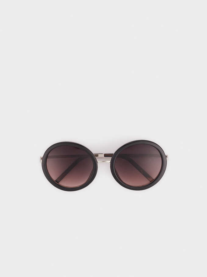 Sunglasses With Round Resin Frames , Black, hi-res