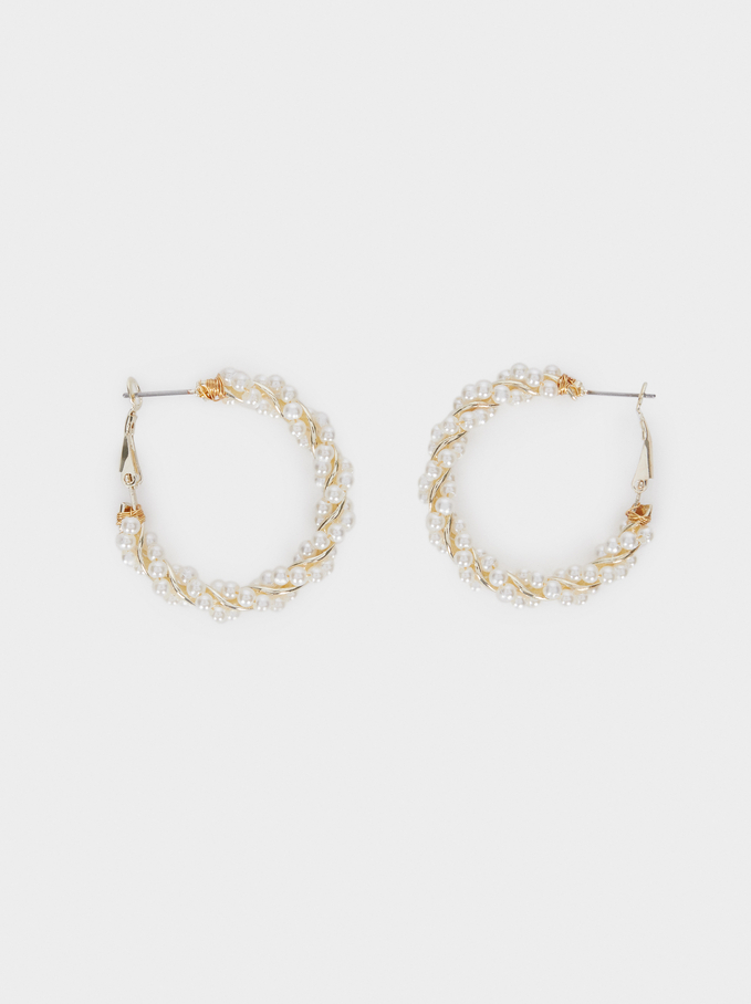 Hoop Earrings With Woven Detail And Pearls, White, hi-res