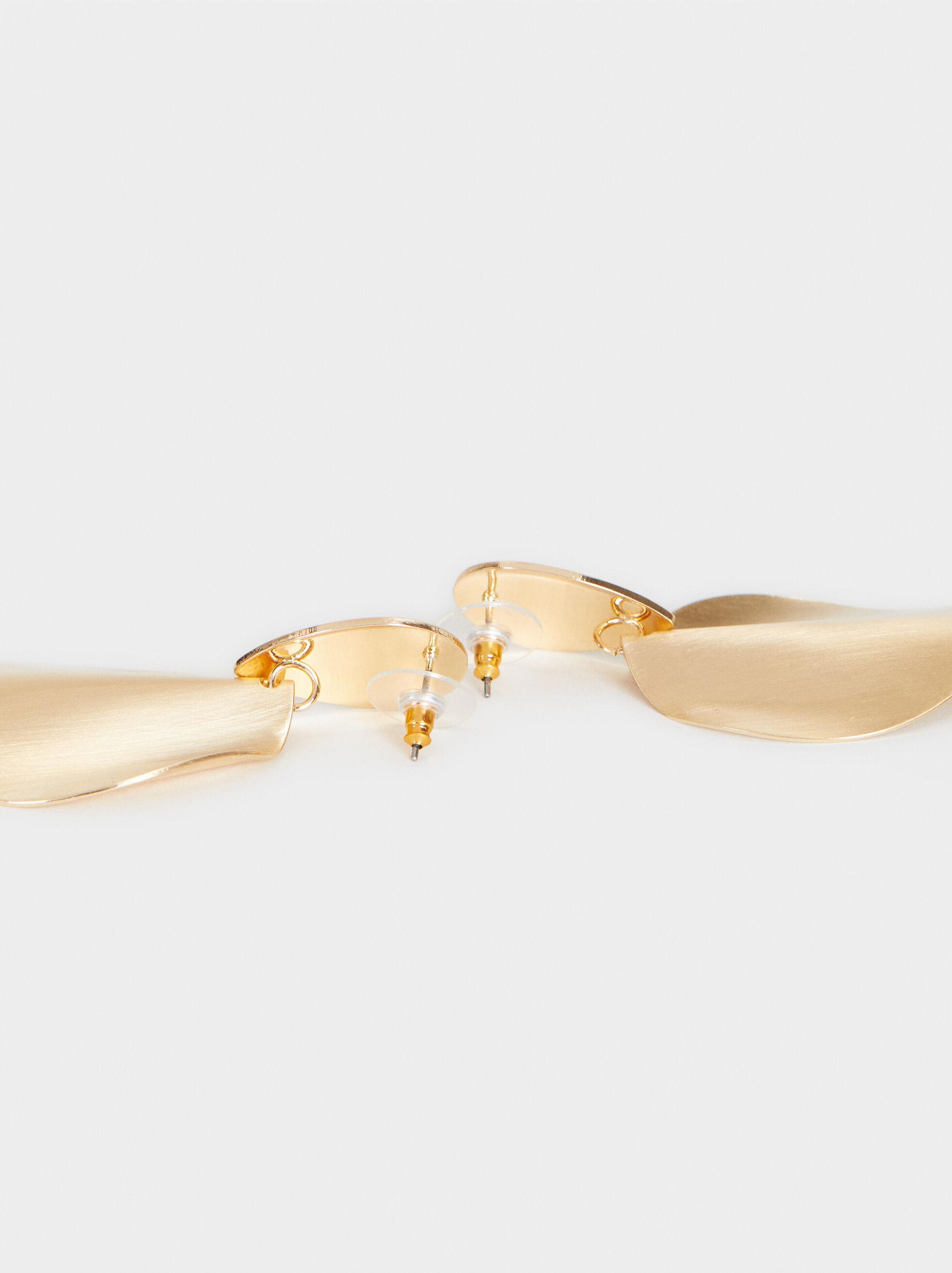 Medium Gold-Finish Earrings, Golden, hi-res